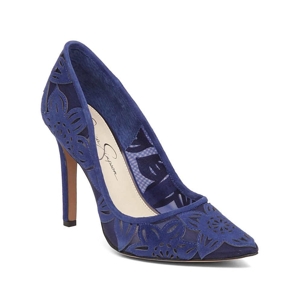 Jessica Simpson Charese Suede and Lace Floral Pump - Blue