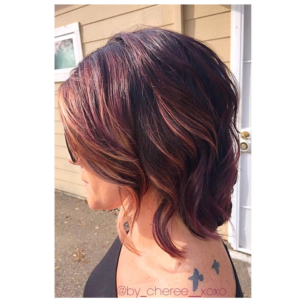Merlot hair color - Merlot Hair Color With Highlights I Created Using Joico 4vr With 10vol And Matrix V