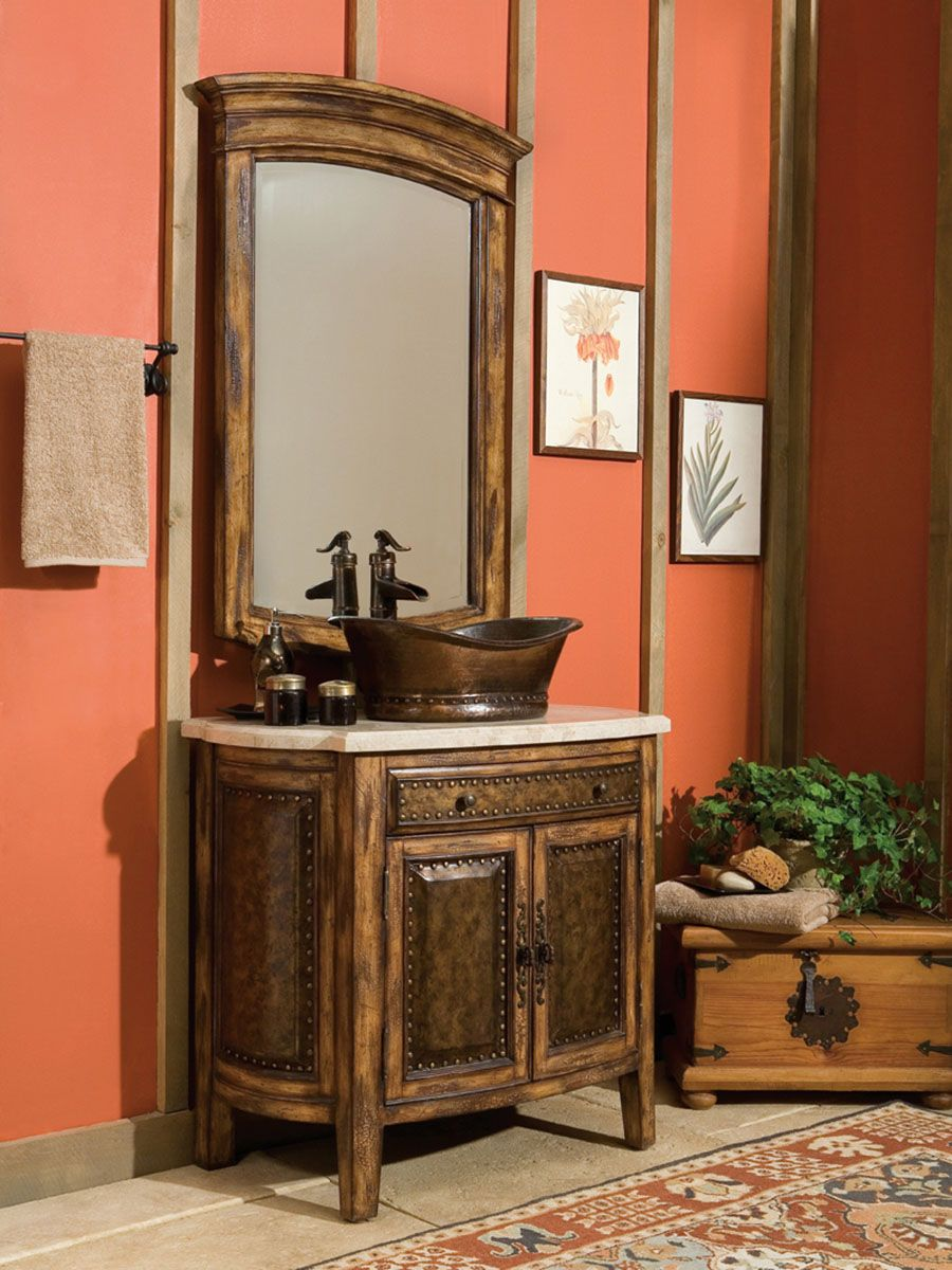The 36 Rustico Single Vessel Sink Bath Vanity Is Rich In Detail