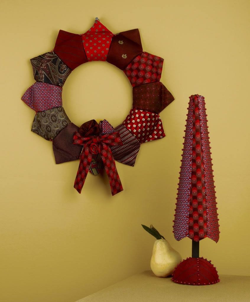 DIY Tie Wreath:  -Made one out of my Grandpa's old ties as a Christmas gift to my Aunt last year.  Fun and Easy, and a great use for something sentimental!