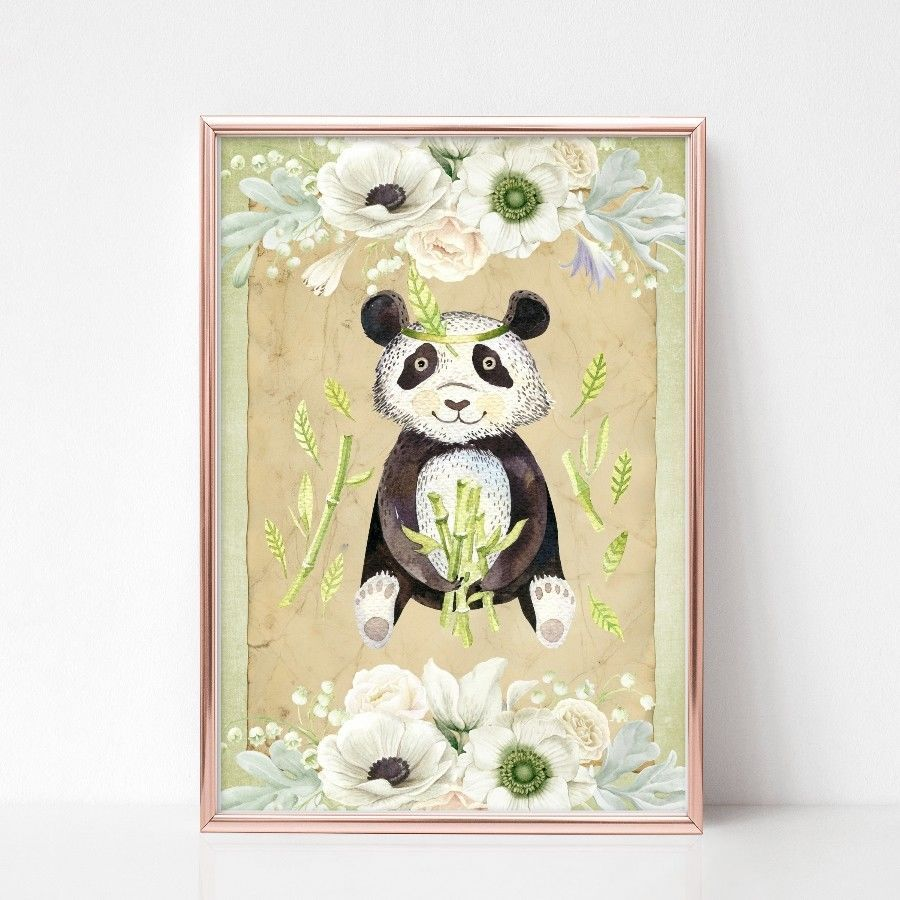 Panda Wall Art, Nursery Decor, Tropical Animal, Kids Room, Unframed ...
