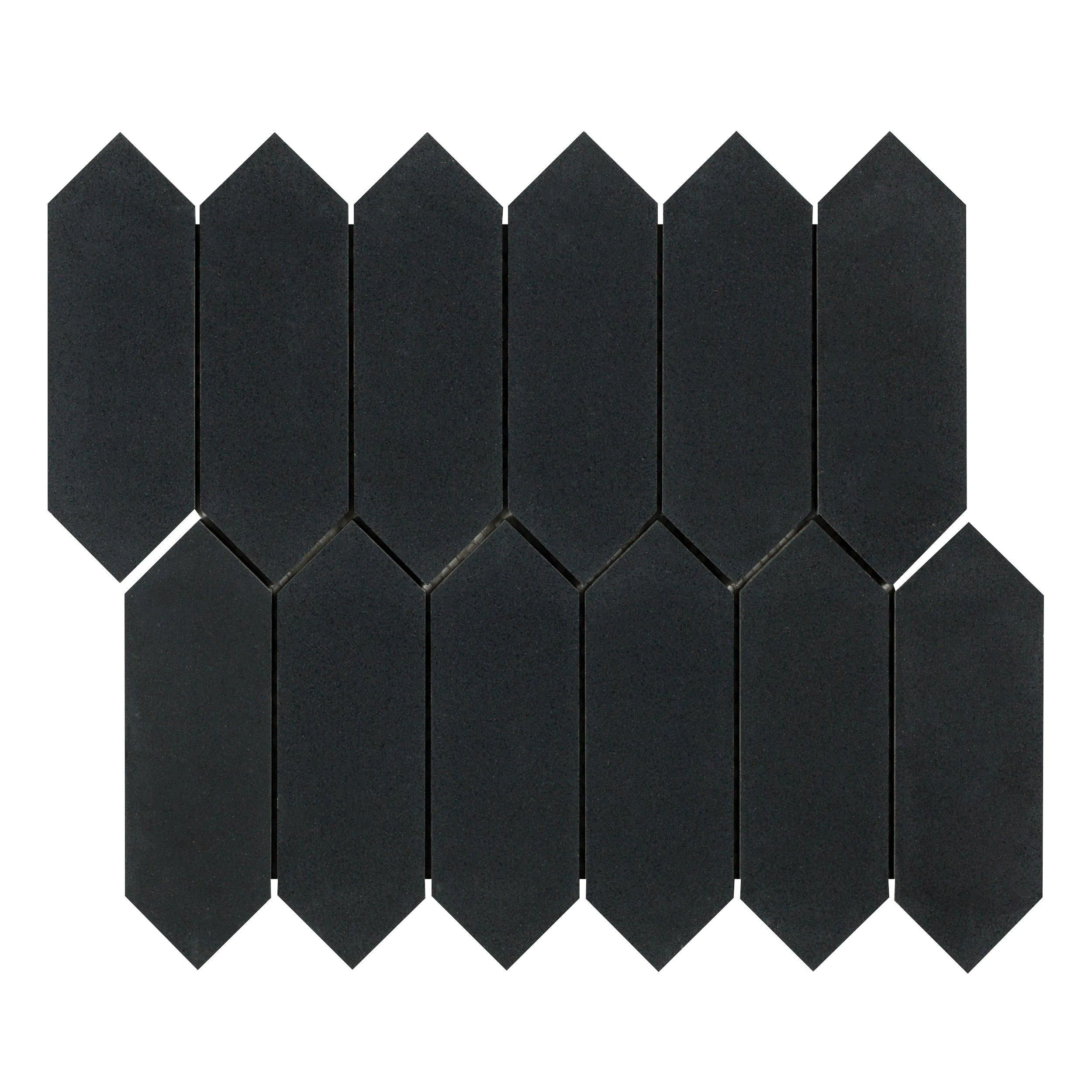 Jet Black Basalt Picket Limestone Mosaic Black Basalt Mosaic Black Granite Tile
