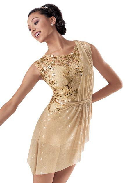 6232aa56b8e3 Weissman™ | Sequin Lace Asymmetrical Biketard Fields of Gold Anna Contemp  Class