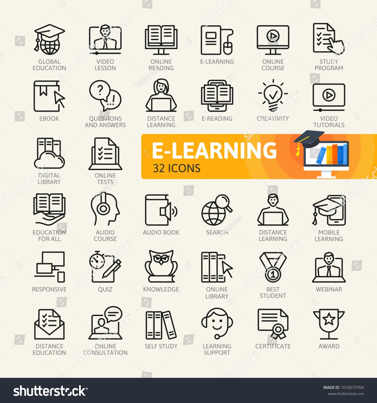E Learning Online Education Elements Minimal Thin Line Web Icon Set Outline Icons Collection Simple Vector Illust Online Education Line Web Education Icon