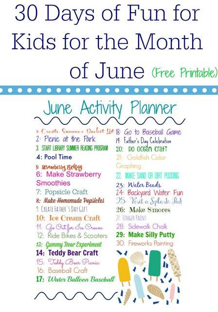 June Activity Planner For Kids Free Printable Summer