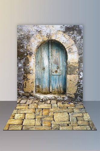 Backdrop And Floor Combo Set Beautiful Blue Door And Stone Floor