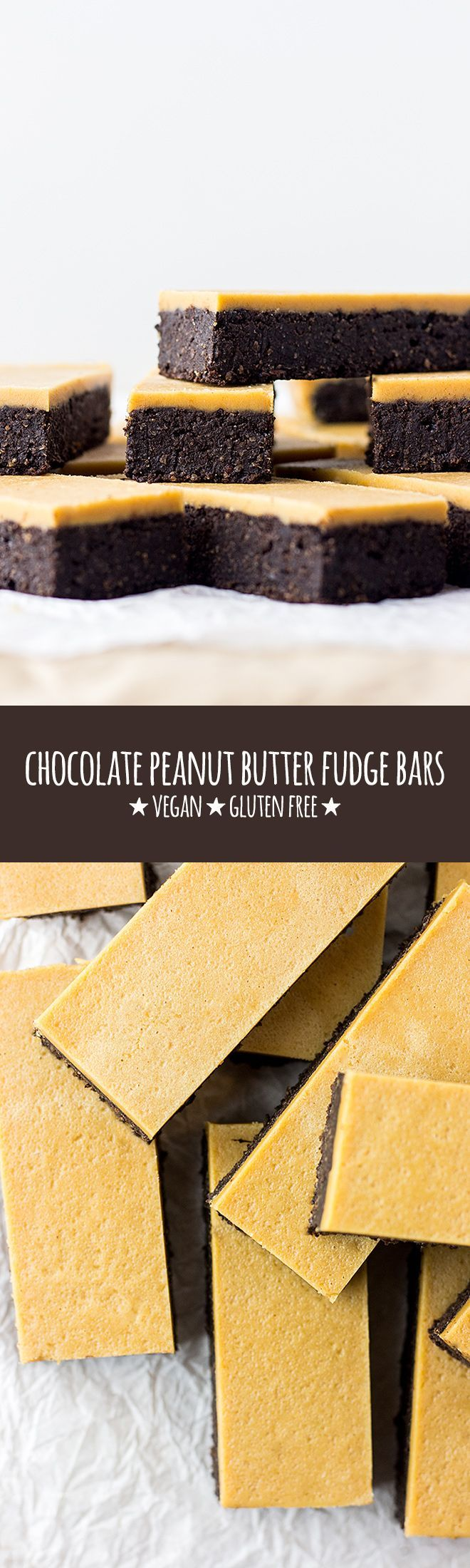 Gluten free chocolate brownie bars topped with three-ingredient, maple sweetened peanut butter fudge. via @Quite Good Food