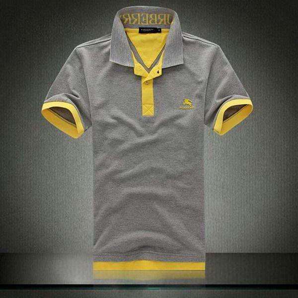 polo ralph lauren outlet online Burberry Collar Short Sleeve Men s Polo  Shirt Grey Yellow http  69edef16dce93