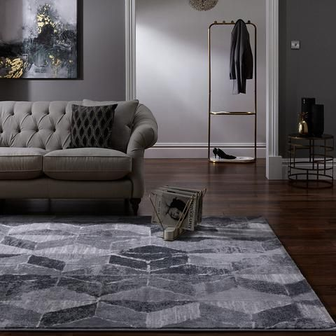 Modena Collection Modern Floor Rugs Grey Geometric Mod02