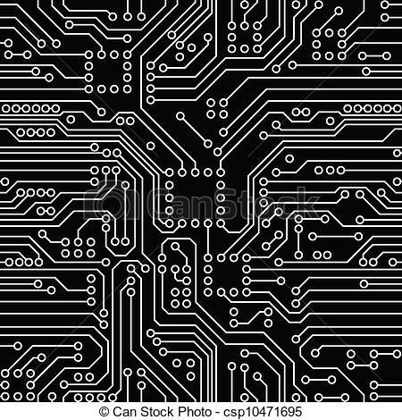 EPS Vectors of Circuit Board - Black computer circuit board Seamless ...