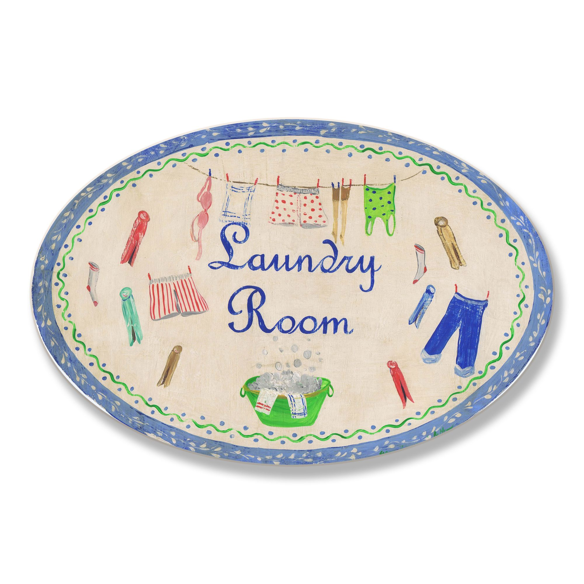 Laundry Wall Plaque Mesmerizing Stupell Blue Laundry Room Oval Wall Plaque Beige Mdf  Plaques 2018