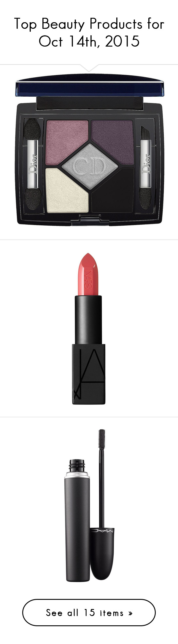 """""""Top Beauty Products for Oct 14th, 2015"""" by polyvore ❤ liked on Polyvore featuring beauty products, makeup, eye makeup, eyeshadow, beauty, make, apparel & accessories, pink design, pink eye shadow and pink eye makeup"""