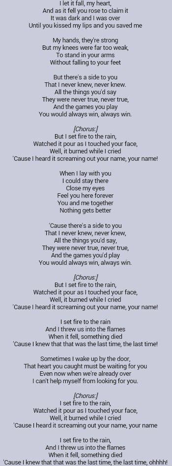 Adele Set Fire To The Rain With Images Adele Lyrics