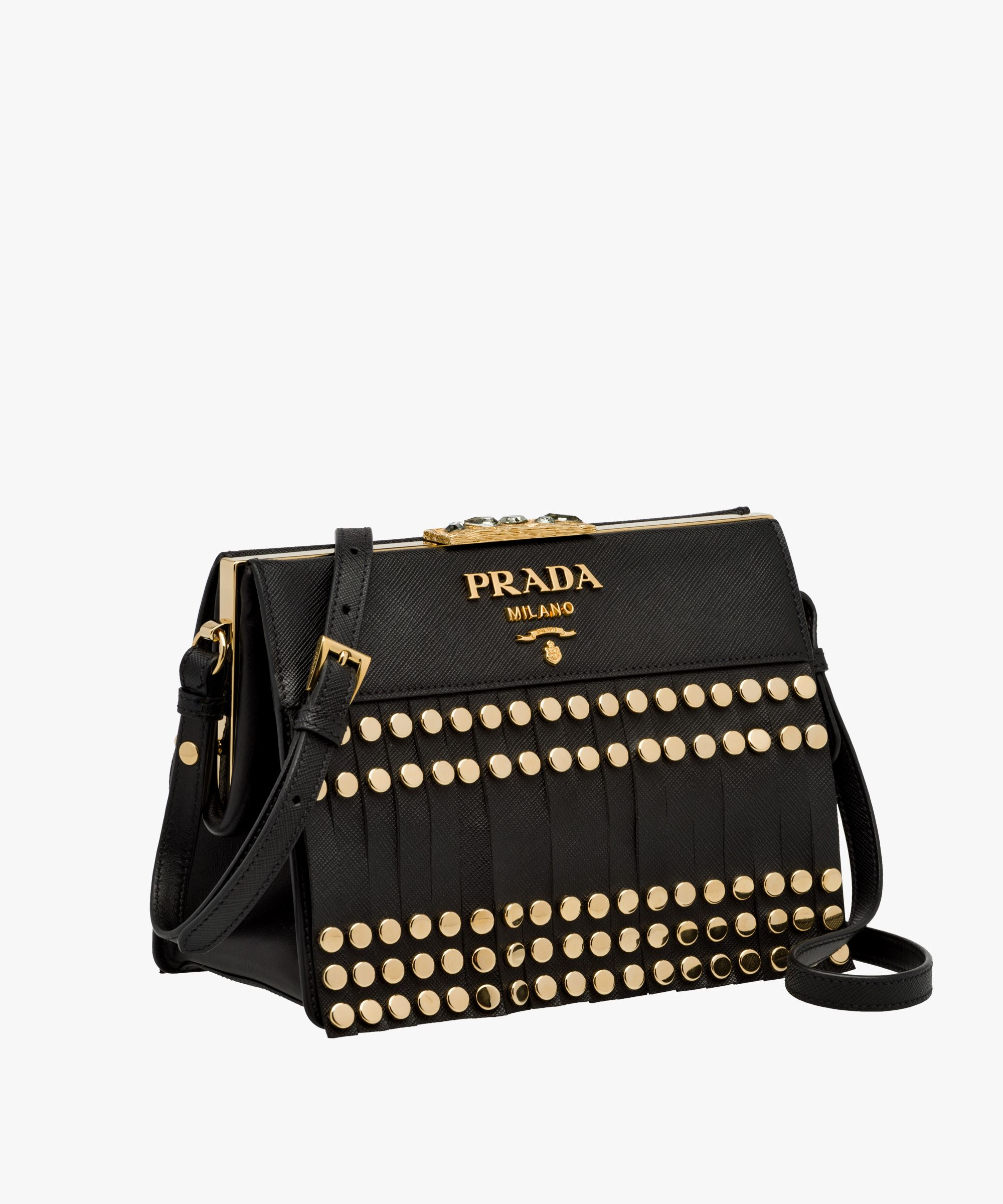 d46e79bf7088 Prada Idol Saffiano and calf leather shoulder bag with fringe and metal  studs