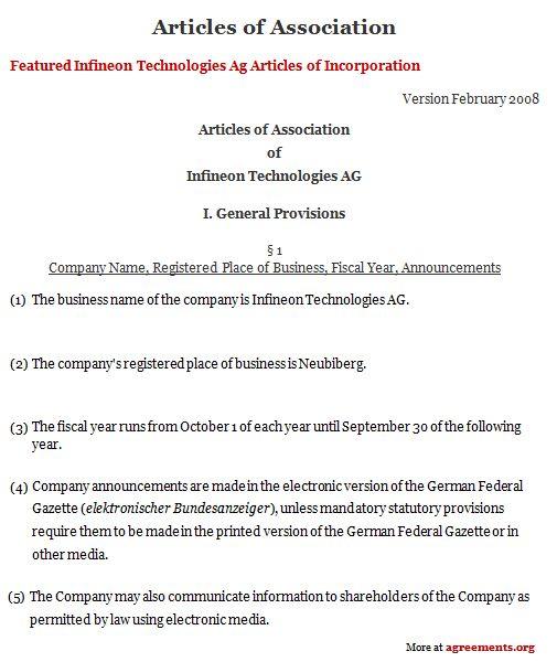 Articles of Association Agreement #employment #agreement