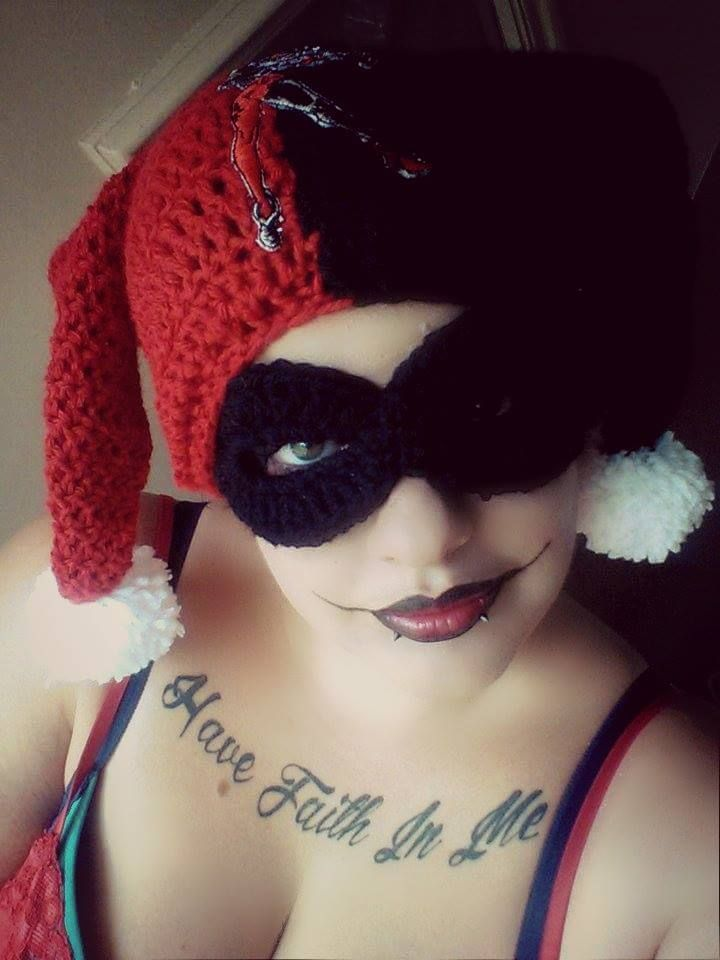 Crocheted Harley Quinn hat and detacheable mask. Only at ...