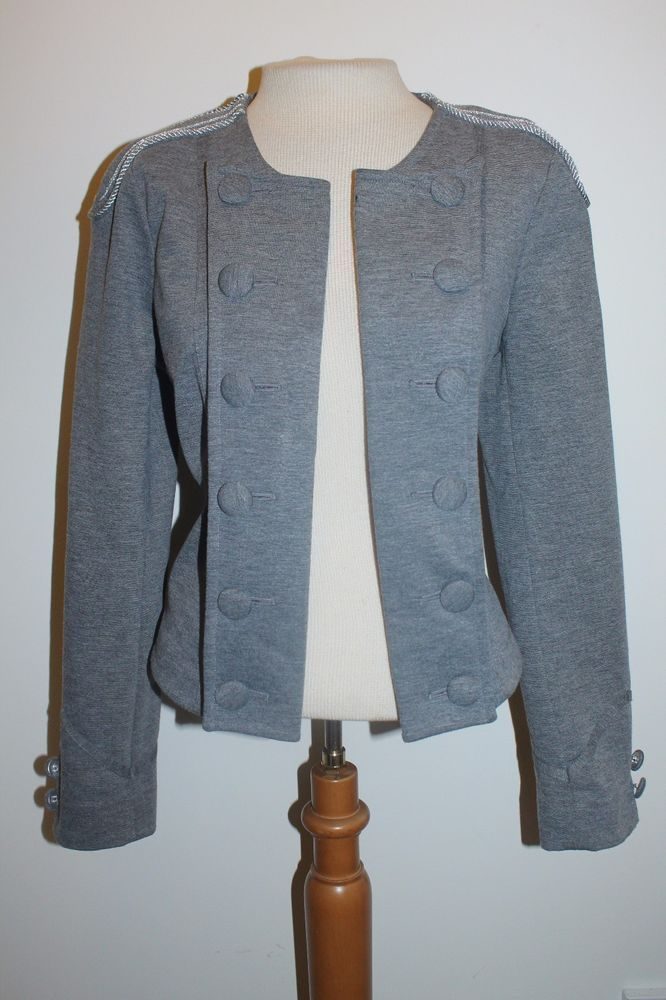 A.N.A A New Approach Coat M Gray Embroidered Shoulder Blazer #ANewApproach #Blazer
