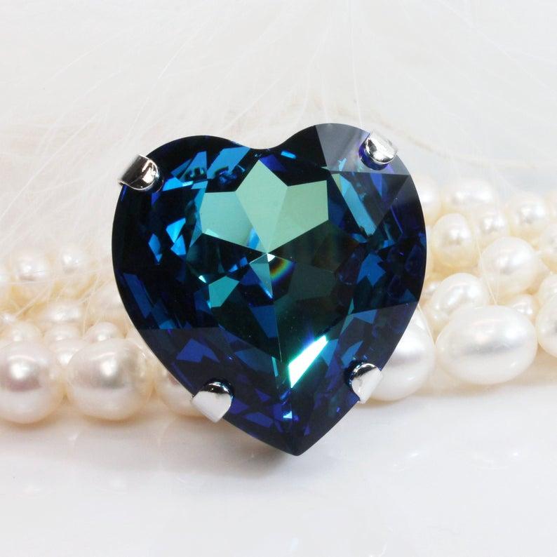 Blue Heart Ring Big Adjustable Swarovski Crystal Cocktail