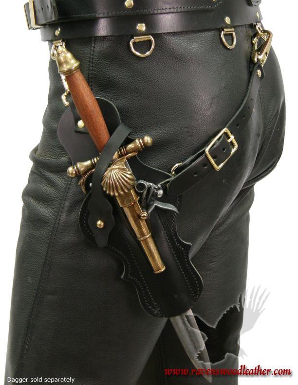 Pirate Skull Renaissance LARP Flintlock Gun Single Leather Belt Holster