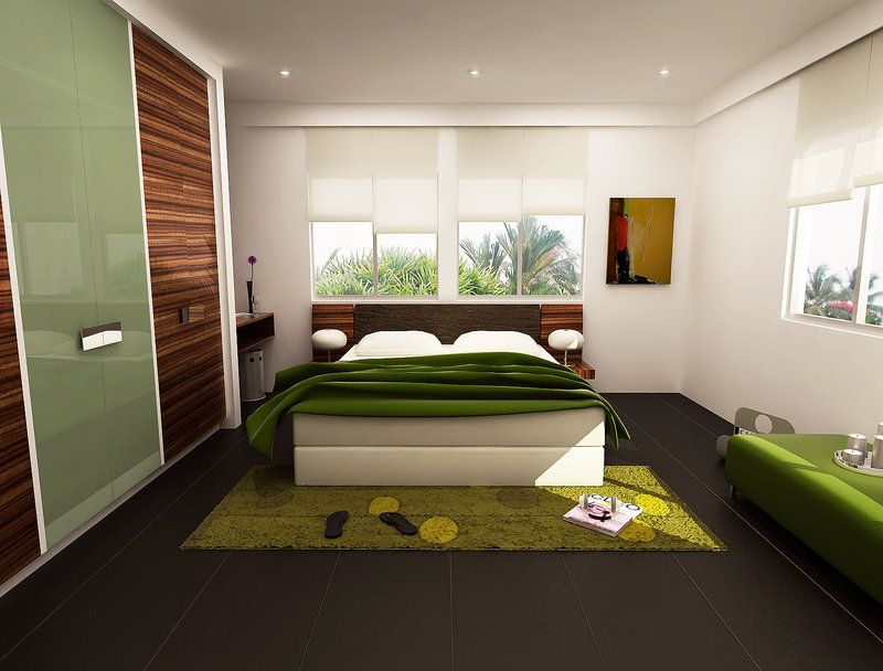Soothing White Walls Bedroom Decor With Fresh Green Bedcover And Green  Lounge Area