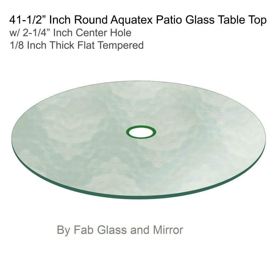 Aquatex Patio Round Glass Table Top Flat Tempered W 2 1 4 Hole 48
