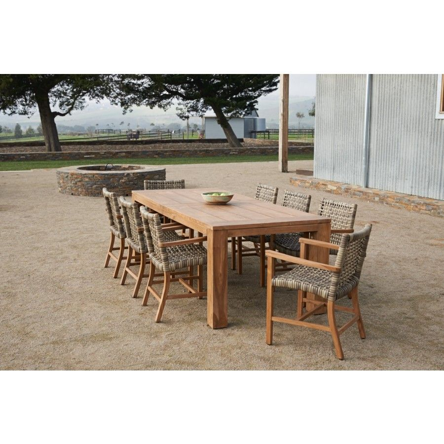 Recycled 2400 x 1000 table with 8 teak wicker chairs. Bench seat ...
