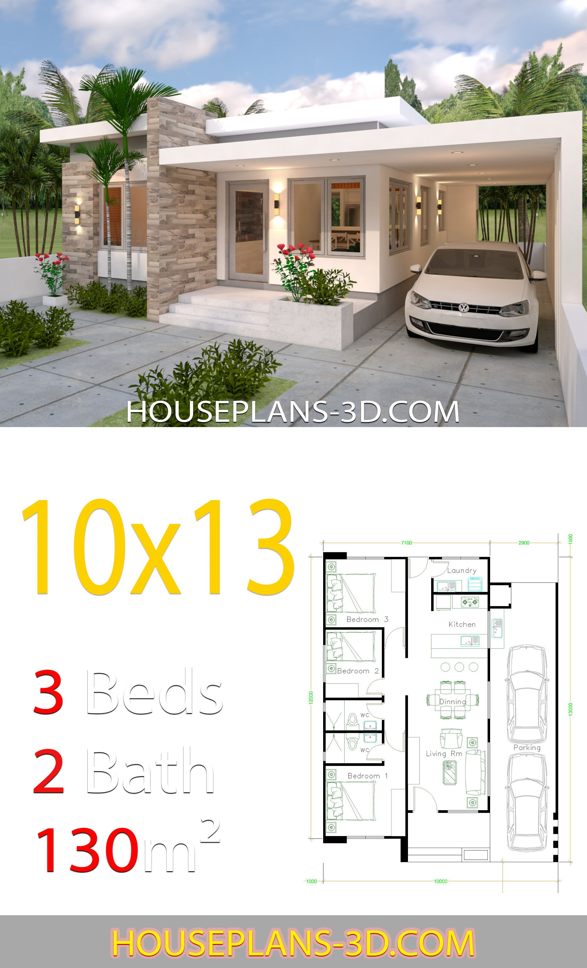 House Design 10x13 With 3 Bedrooms Full Plans Con Immagini