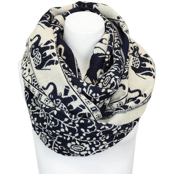 Leto Collection Navy Elephant Infinity Scarf ($13) ❤ liked on Polyvore featuring accessories, scarves, elephant scarves, infinity scarf, infinity loop scarves, animal print infinity scarves and loop scarves