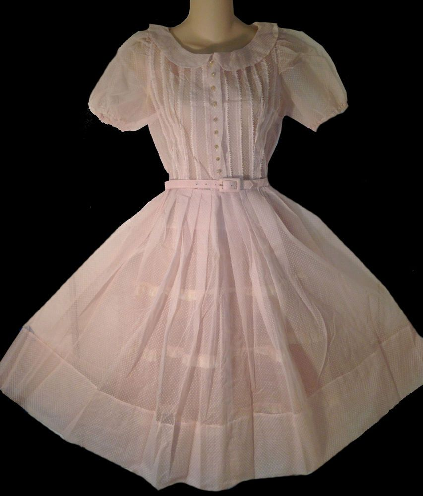Vintage s s pale pink sheer swiss dotted party dress b