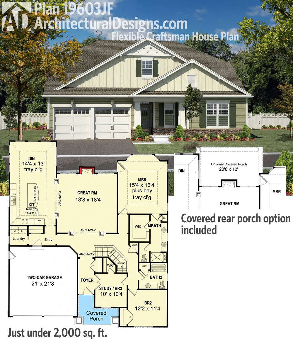 Plan 19603jf Flexible Craftsman House Plan Bungalow