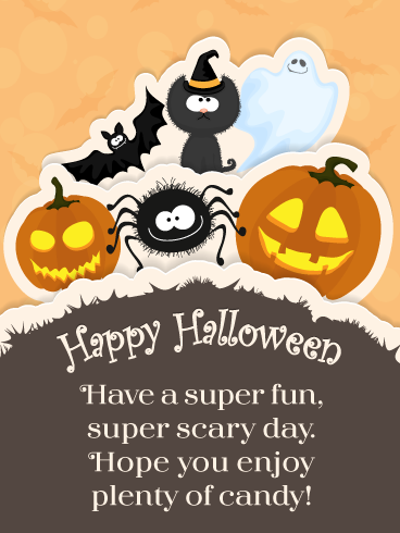 Super Fun & Scary – Happy Halloween Card   Birthday & Greeting Cards by  Davia   Halloween wishes, Happy halloween cards, Happy halloween