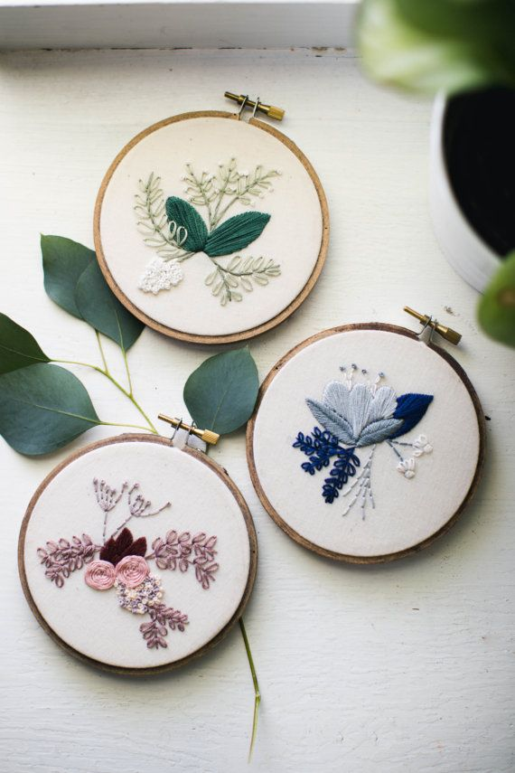 CLUSTER OF THREE, Floral Embroidery Hoop Art, Gallery Wall Design ...