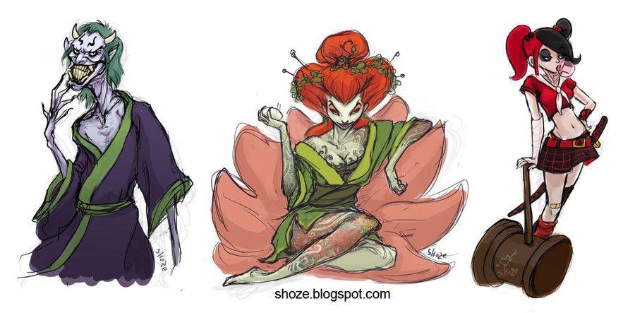 Batman Villains with Japanese Twist by ~shoze on deviantART