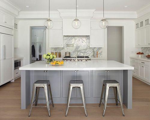 Gray And White Kitchens Houzz Gray And White Kitchen Two Tone Kitchen Cabinets Grey Kitchen Designs