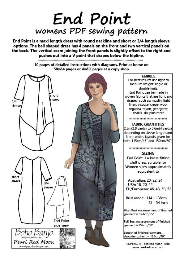 End Point, womens PDF sewing pattern by Pearl Red Moon, now ...