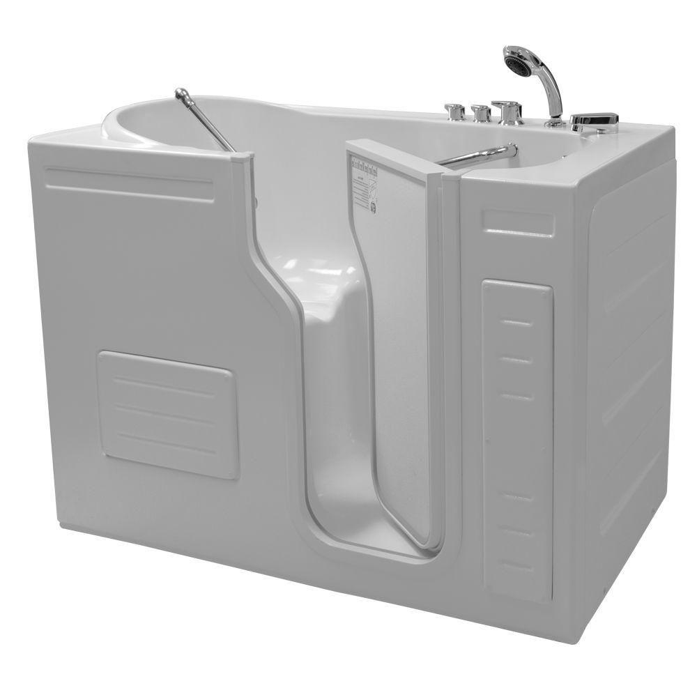 Homeward Bath Aurora 4 25 Ft Walk In Bathtub In White Right Drain Bathtub Tub Whirlpool Tub