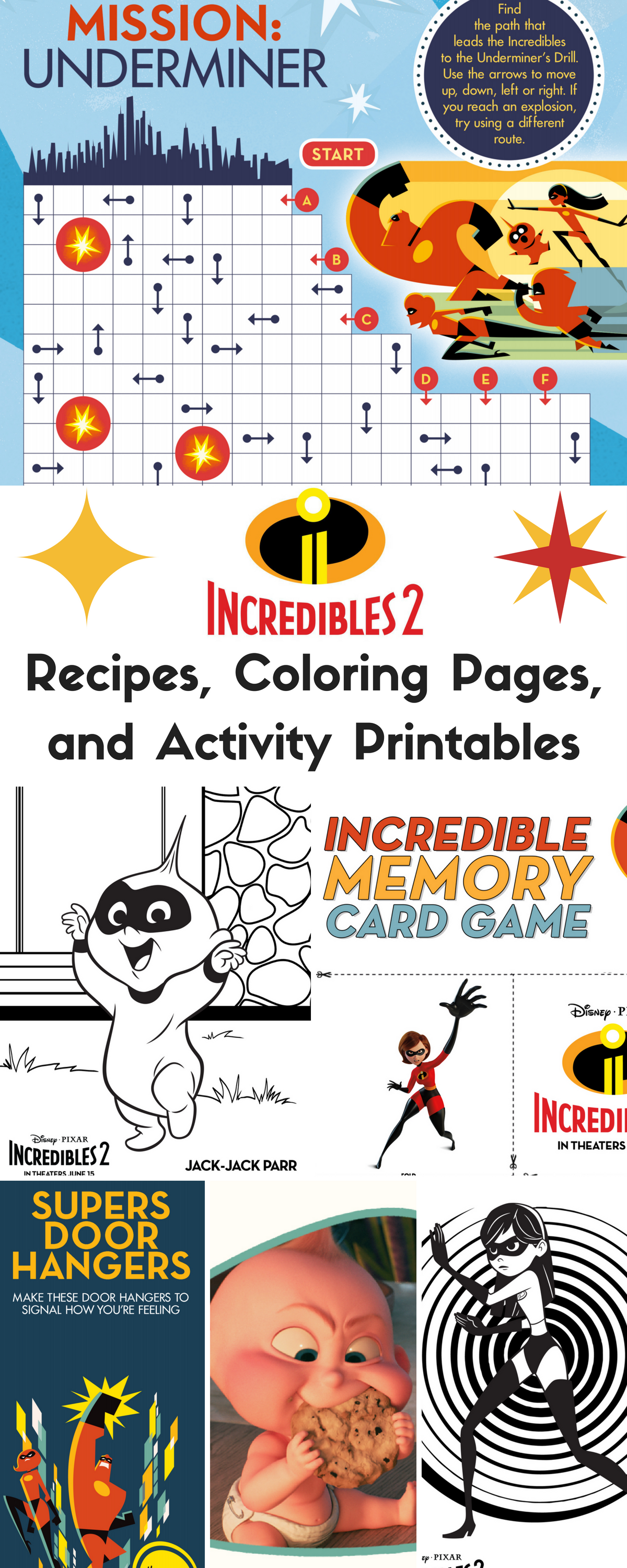 Incredibles 2 Recipes Coloring Pages And Activity Printables Disney Activities Disney Crafts For Kids Kids Activity Books