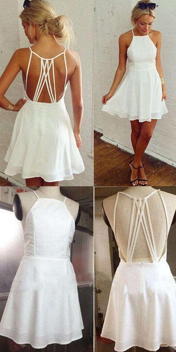 A Line Halter Backless Short White Chiffon Homecoming Dress
