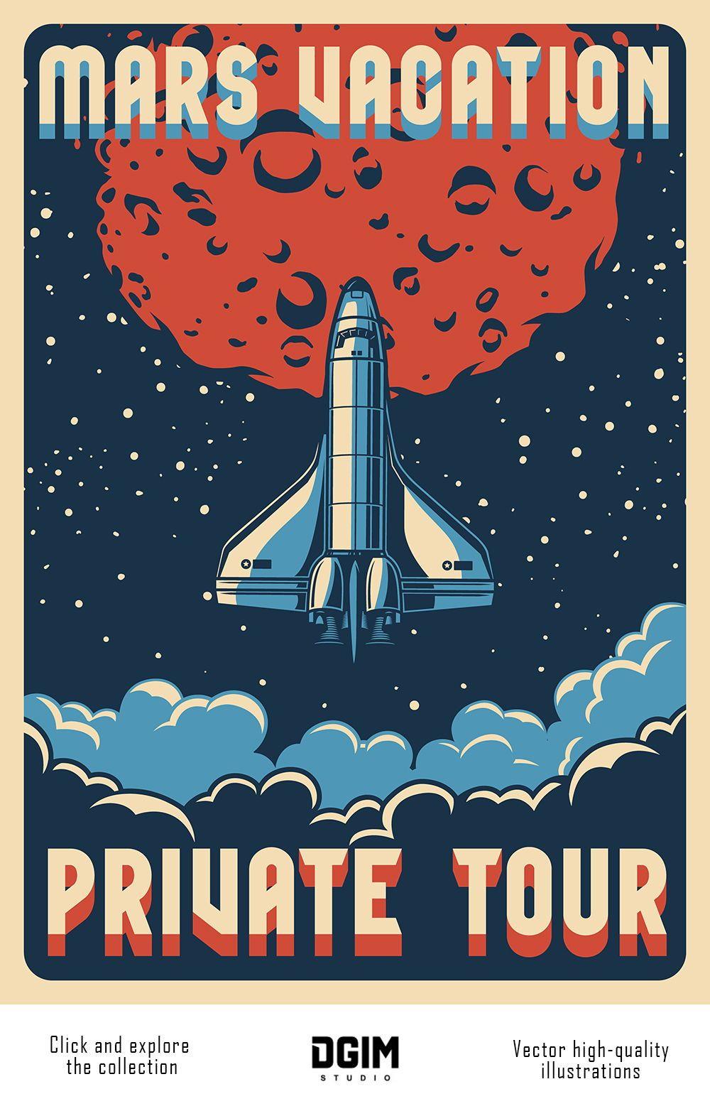 Vintage Space Emblems Set Di 2020 Kertas Dinding Retro Ilustrasi Poster