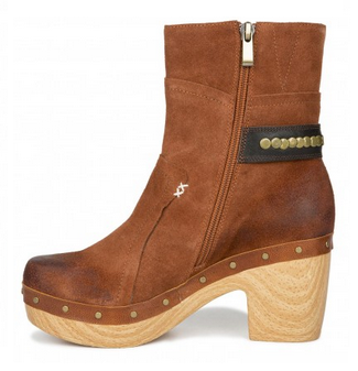 """Antelope 973 ankle booties as seen on Abbey from """"Along Abbey Road"""". The rich tobacco-colored suede and natural wood create a ravishing result! Now on sale: www.antelopeshoes..."""