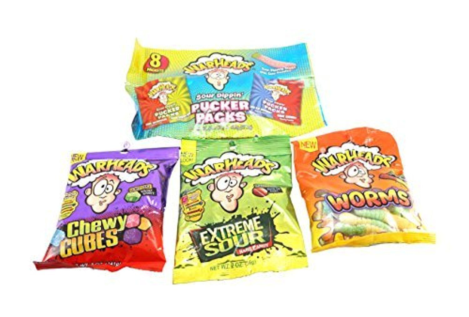 Warhheads Pucker Packs Extreme Sour Worms Chewy Cubes Candy 4pk By Warheads Awesome Products Selected By Anna Churchill Chewy Worms Gourmet Recipes