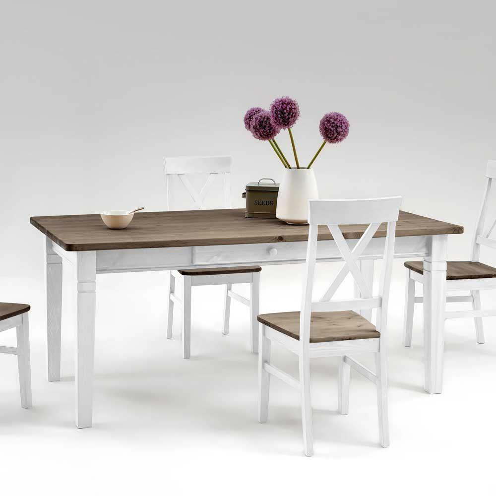 Cool Esstisch Massivholz Weiß Galerie Von Esszimmertisch In Weiß Grau Kiefer Jetzt Bestellen