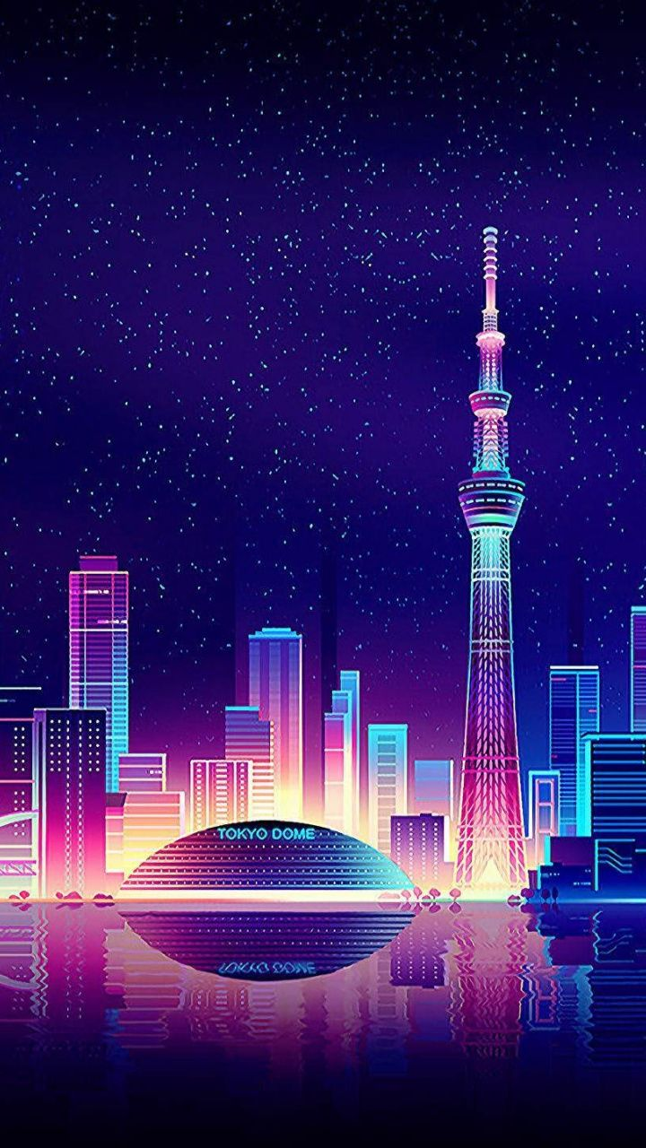 Tokyo Cityscape Buildings Digital Art 720x1280 Wallpaper