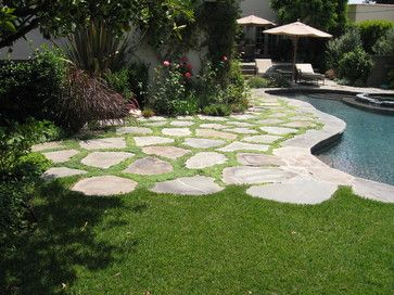 transition from grass to ground cover between flag stones...nice ... - Patio Ground Cover Ideas