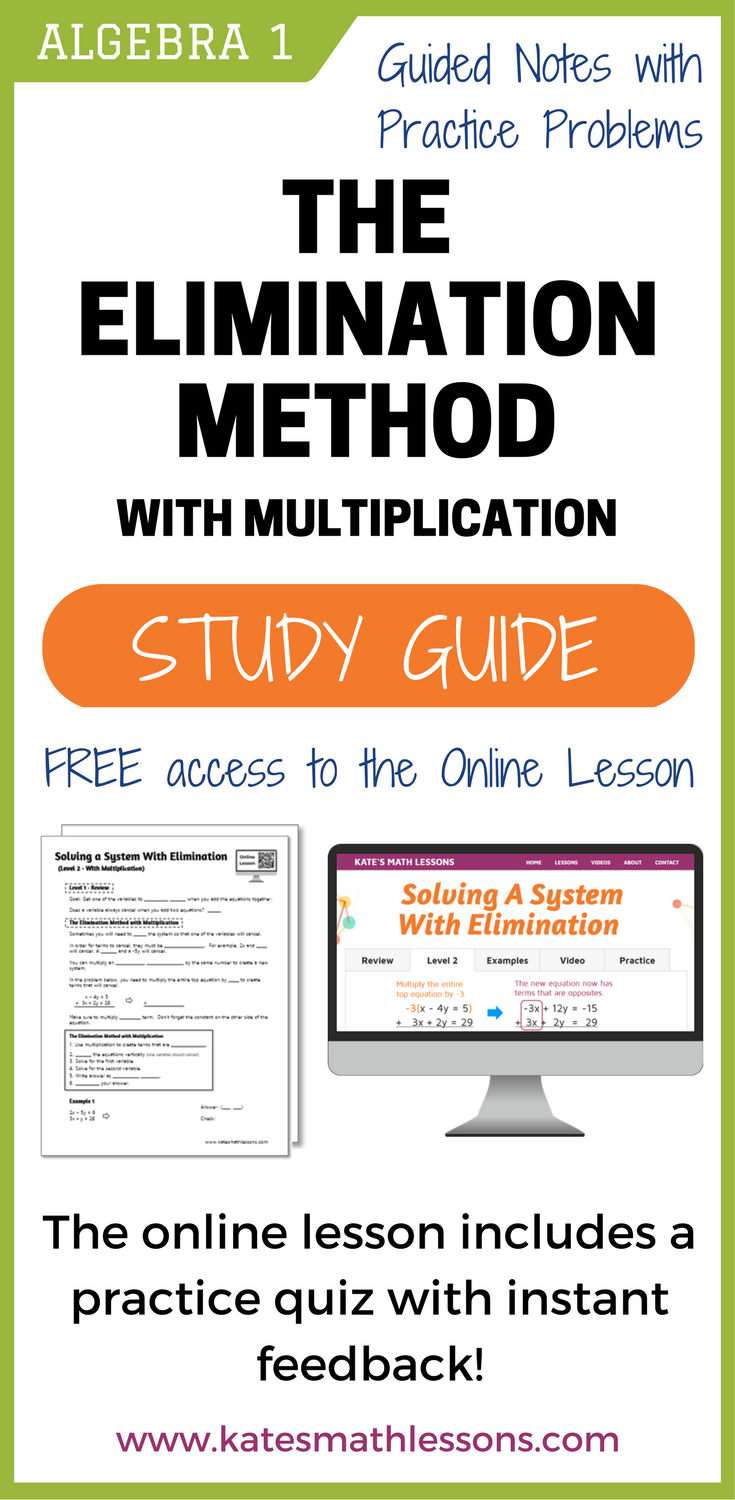 Solving Systems of Equations with Elimination Study Guide