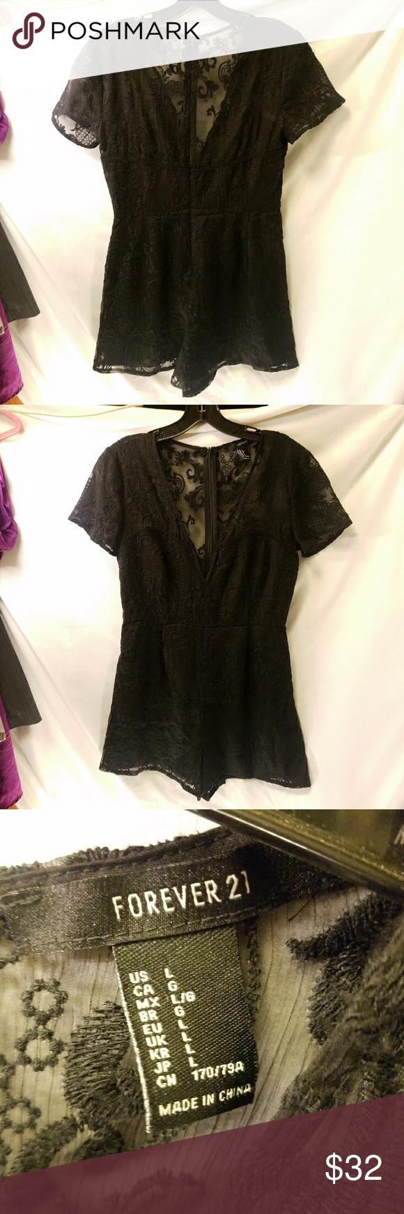 FOREVER 21 romper Size Large Soooo cute!  Black lace romper Zips up back Deep V-neck Eexcellent condition Forever 21 Pants Jumpsuits & Rompers