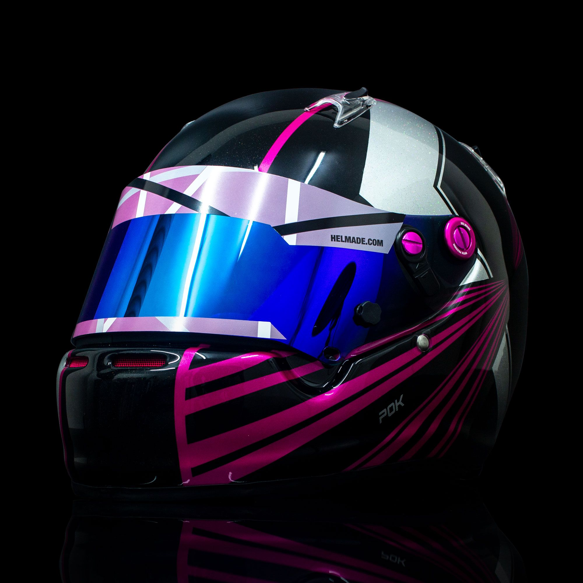 Asymetric one with a lot of pink! What a blast. 🤩‼️ Do you like it as much as we do? #helmade #withpassion #arai #ck6 #kartinghelmet #helmetdesign #helmdesign #custompaint #customhelmet #designyourown #racingislife