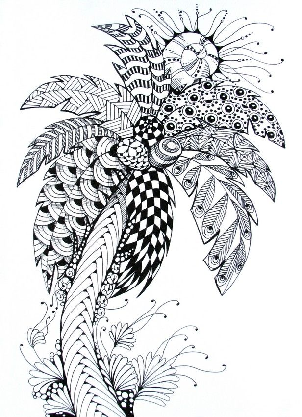 palm tree adult colouring trees leaves landscapes pinterest palm doodles and zentangles