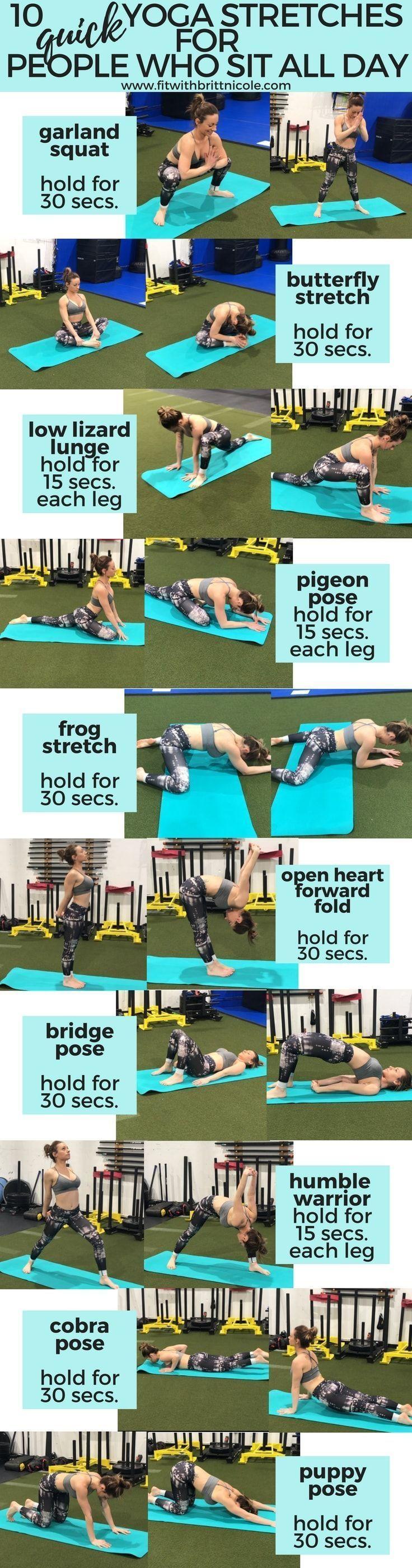 10 schnelle Yoga-Routen für Frauen, die den ganzen Tag sitzen - Yoga & Fitness #durch #Entgiftung #f...