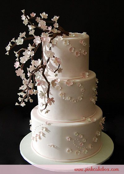 Baby Pink Cherry Blossom Cake Spring Wedding Cakes Cherry Blossom Wedding Cake Cherry Blossom Cake Spring Wedding Cake